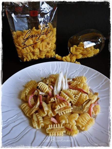 pasta con speck carciofi e finocchi