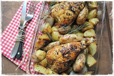 Galletti al forno con patate e scalogni