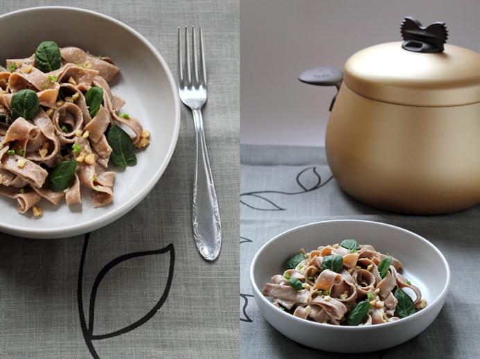 Tagliatelle di castagne con gorgonzola e spinacini