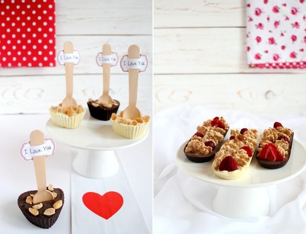 barrette al cioccolato e cuori con arachidi_ricette San Valentino