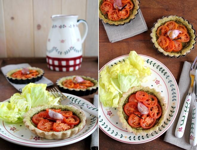 Tartellette integrali al pesto con pomodorini alla vaniglia, Savoury pies with pesto sauce and vanilla-flavoured cherry tomatoes