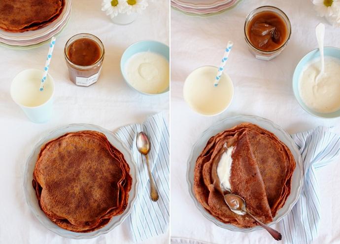 crepe con farina di castagne cacao e crema di marroni