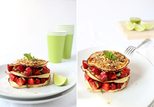 pancake alla ricotta con insalata di fragole