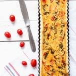 Quiche ai pomodorini e spinaci Quiche with spinach and tomatoes