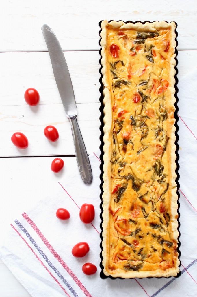 Torta salata ai pomodorini e spinaci
