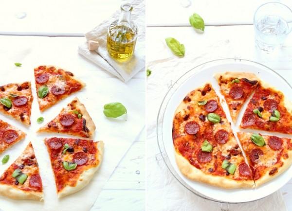 pizza stracchino e salame piccante, Pizza with stracchino and spicy salami recipe