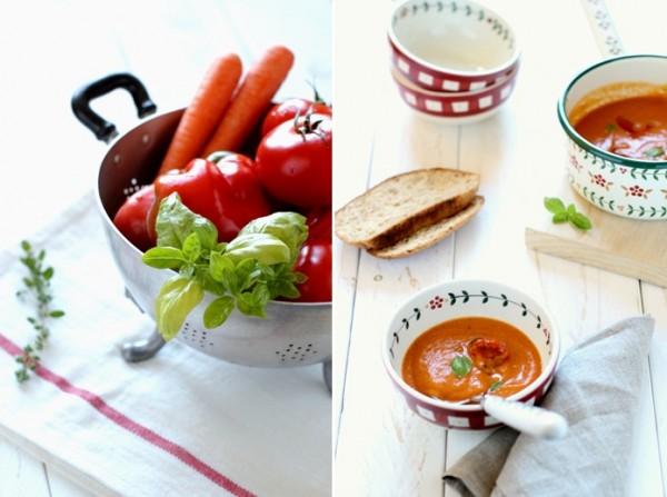 zuppa fredda di pomodori e peperoni arrosto
