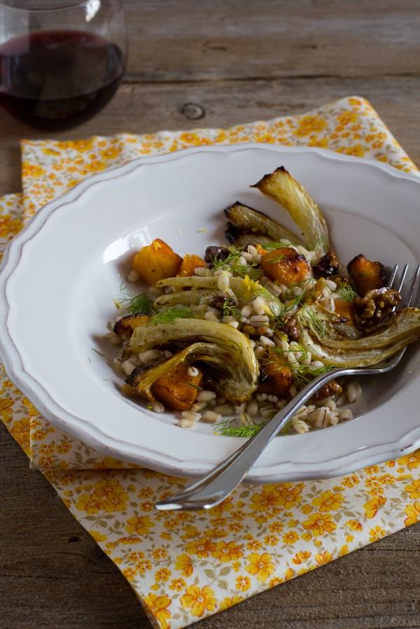 Orzo con zucca e finocchi al forno_ricetta