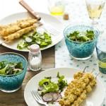spiedini di mazzancolle al forno - baked shrimp skewers