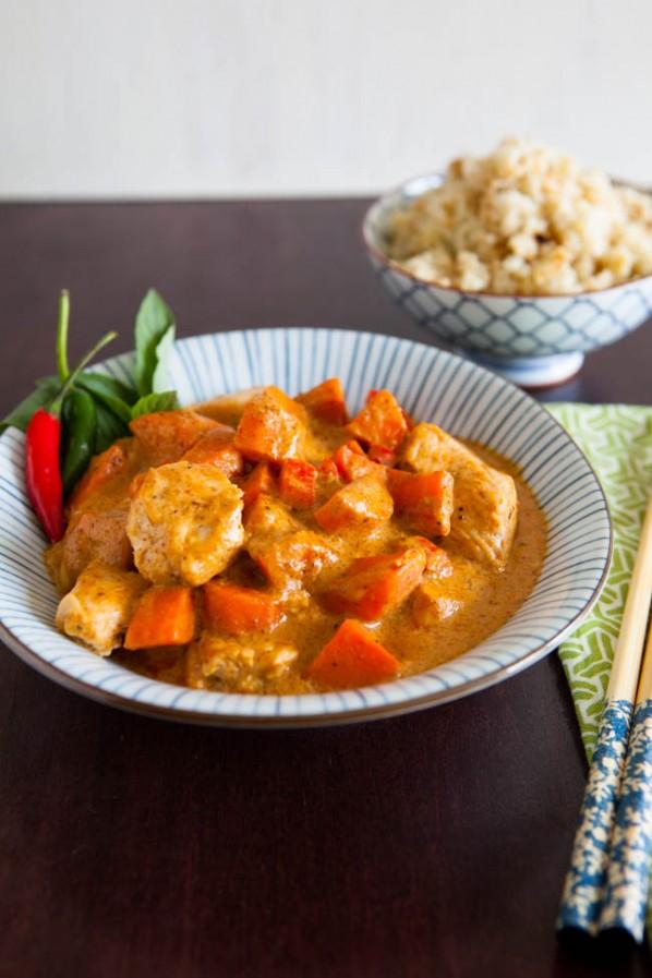Pollo al curry e riso al cocco