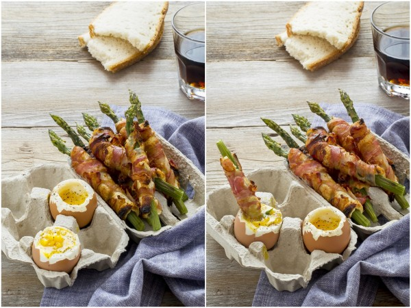 Asparagi con uova alla coque, asparagi e pancetta, soldatini di asparagi con uova alla coque, Asparagus soldiers with soft-boiled egg recipe, how to make soft-boiled eggs with asparagus soldiers
