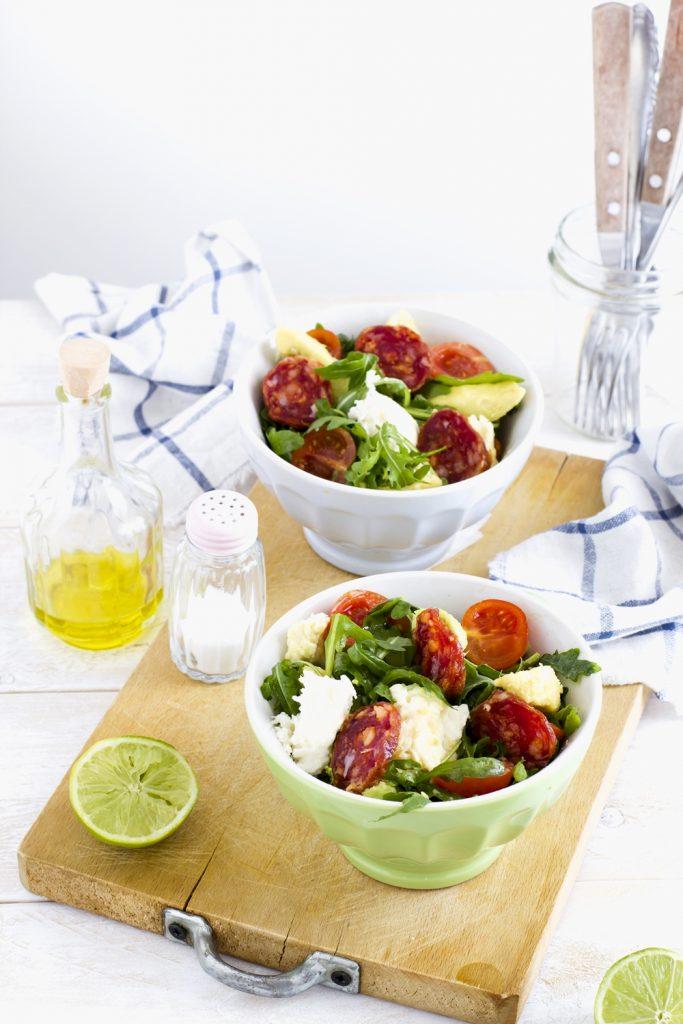 insalata con mozzarella  e avocado - avocado and salami salad - salad recipe - opsd
