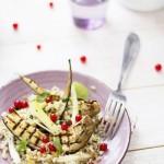 insalata di cereali con melanzane grigliate, cipollotti e ribes - eggplant and ribes grain salad