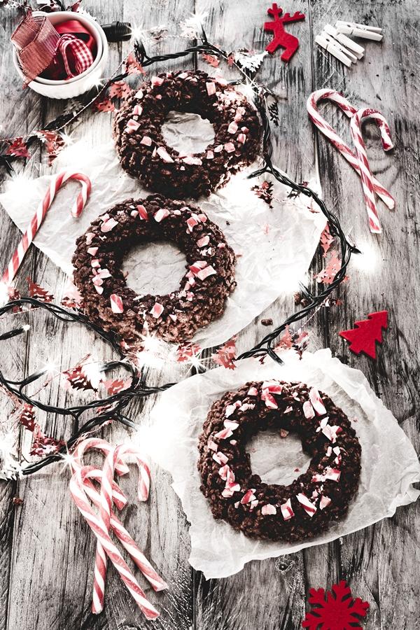 ghirlanda riso soffiato e cioccolato - Chocolate crispy Christmas wreaths
