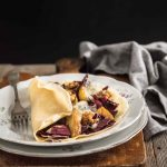 Crepes with radicchio, pear and gorgonzola cheese - Crepes al radicchio, pere e gorgonzola