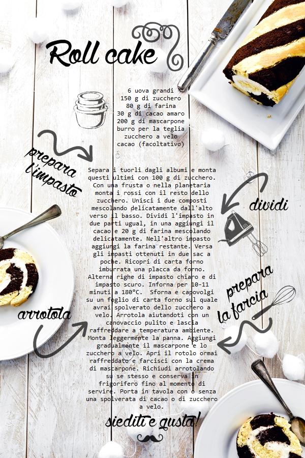 Rotolo bicolore cioccolato e vaniglia, Chocolate and vanilla cake roll