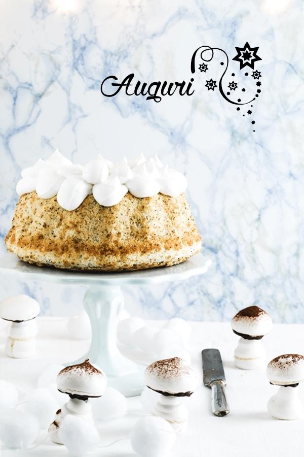 Angel cake al pompelmo e semi di papavero, Grapefruit and poppy seed angel cake