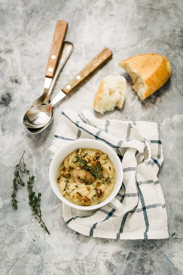 Zuppa di sedano rapa, funghi e mele - Celeriac and apple soup