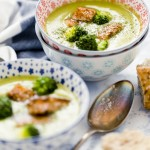Vellutata di piselli, broccoli e salmone - Peas soup with broccoli and salmon