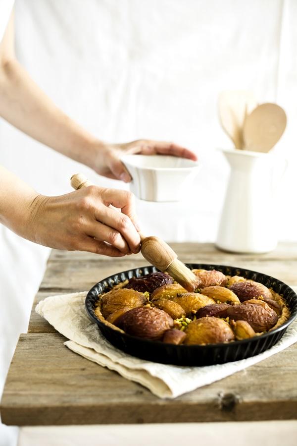 crostata pesche e pistacchi - crostata di pesche - peach and pistachio tart - peach tart
