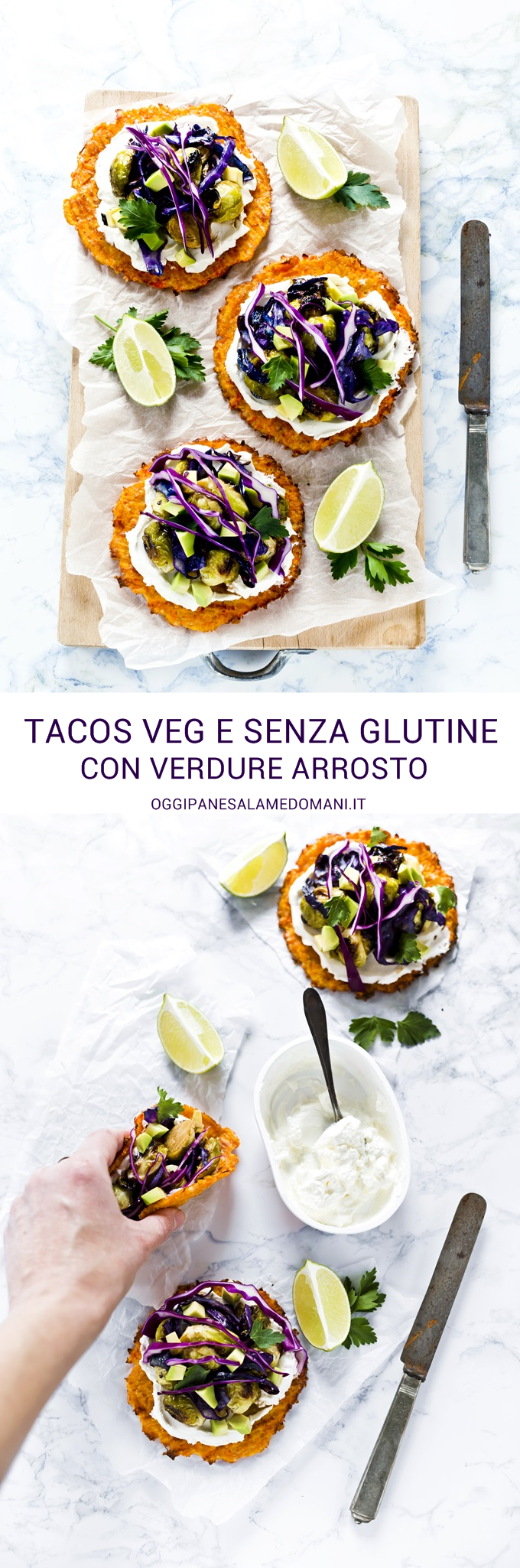 Tacos carote, cavoletti avocado - carrot taco shells with roasted brussels sprouts, avocado and purple cabbage - vegetarian taco recipe - fresco spalmabile Nonno Nanni