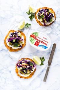 Tacos carote, cavoletti avocado - carrot taco shells with roasted brussels sprouts, avocado and purple cabbage - vegetarian taco recipe - fresco spalmabile Nonno Nanni