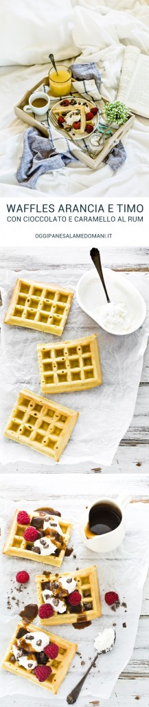 orange thyme waffles recipe with rum caramel sauce and chocolate - waffles arancia e timo - waffles recipe - salsa al caramello al rum - rum caramel sauce recipe - fresco spalmabile Nonno Nanni -
