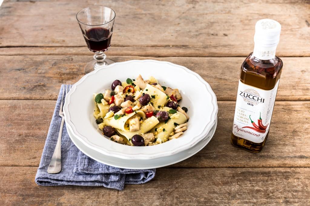 paccheri pesce spada olive e capperi - pasta with swordfish - paccheri with swordfish - opsd blog