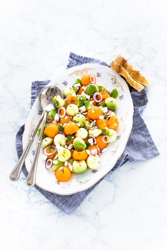 insalata di melone, avocado e cetrioli - insalata estiva - melon, avocado, cucumber salad - summer salad