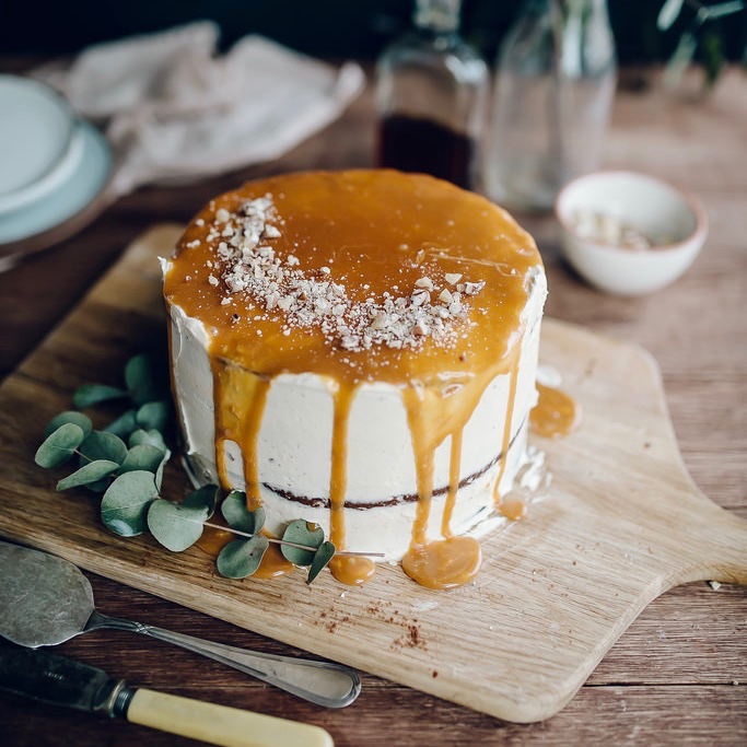 CHOCOLATE WHISKEY CAKE WITH SALTED CARAMEL BUTTERCREAM
