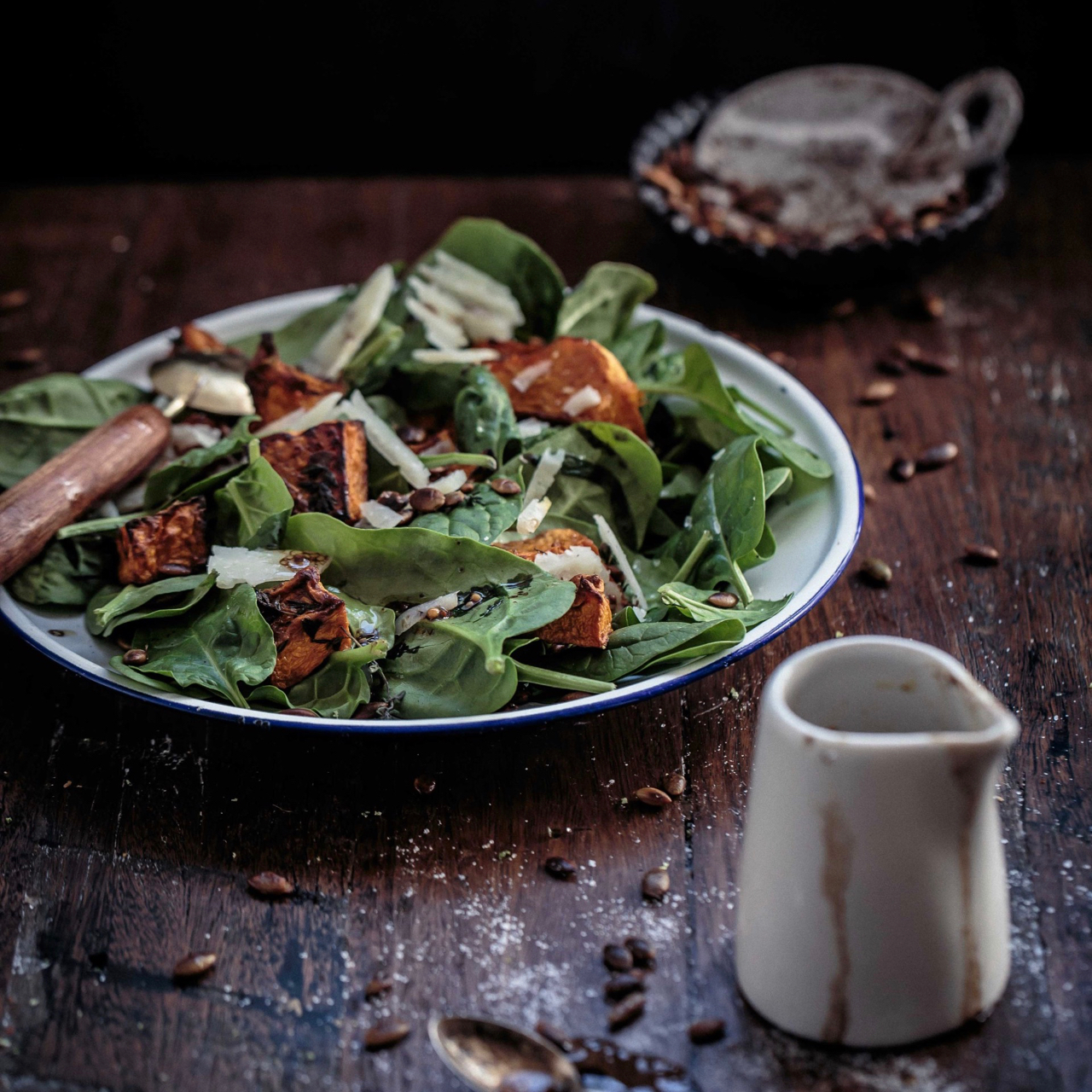 thyme-roasted-pumpkin-and-spinach-salad