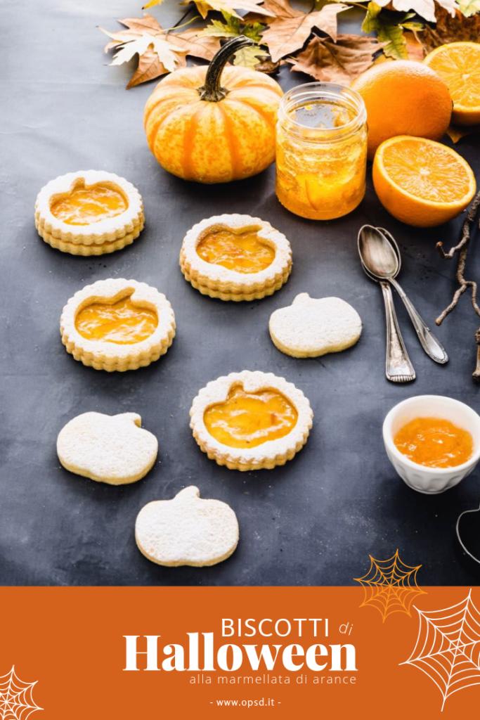 Biscotti di pasta frolla alla marmellata di arance - Biscotti a forma di zucca per Halloween - Halloween pumpkin cookies filled with orange marmalade - Halloween cookies