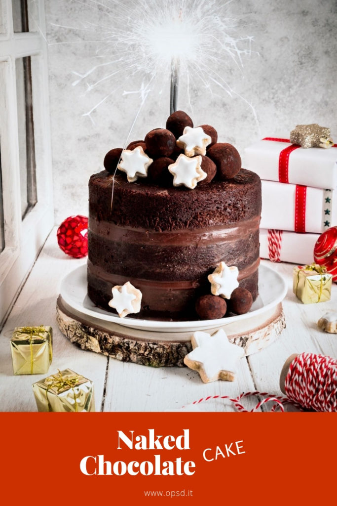 chocolate naked cake, Nutella naked cake, chocolate hazelnut cream naked cake, chocolate truffle, New year's cake, christmas cake recipe, naked cake al cioccolato, torta al cioccolato, dolci per capodanno, tartufi al cioccolato, torta alla Nutella, torta alla crema di Nocciole